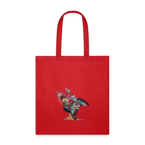 Funny biker riding a chopper cartoon - Tote Bag
