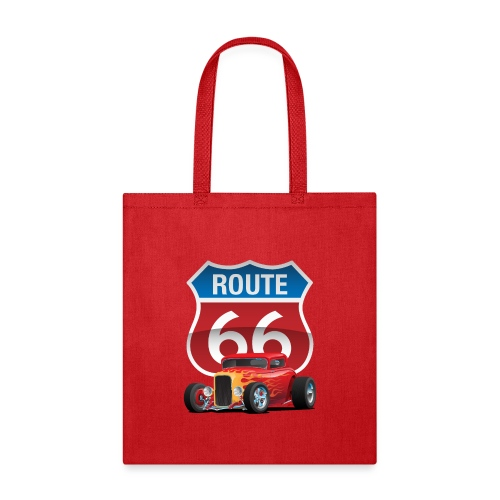 Route 66 Sign with Classic American Red Hotrod - Tote Bag