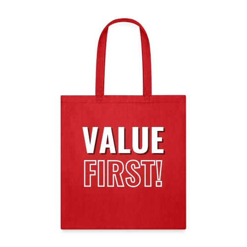 Value First Design - White Text - Tote Bag