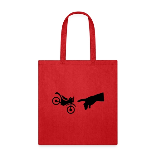The hand of god brakes a motorcycle as an allegory - Tote Bag