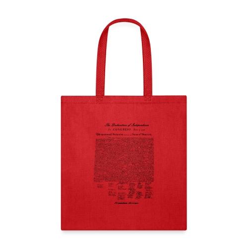 Declaration of Independence Black Lettering - Tote Bag