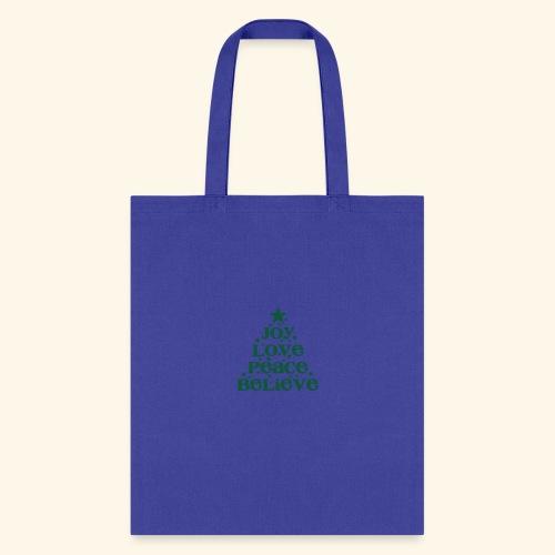 Christmas Tree Joy Peace Believe - Tote Bag