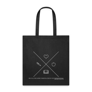 One Book, One Pen Cross Logo - White - Tote Bag