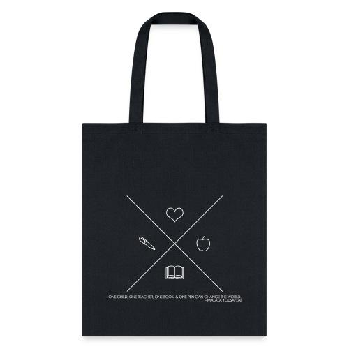 One Book, One Pen Cross Logo - White - Tote Bag