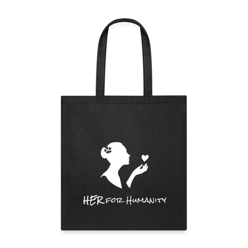 HER For Humanity logo Vertical white Transparent - Tote Bag