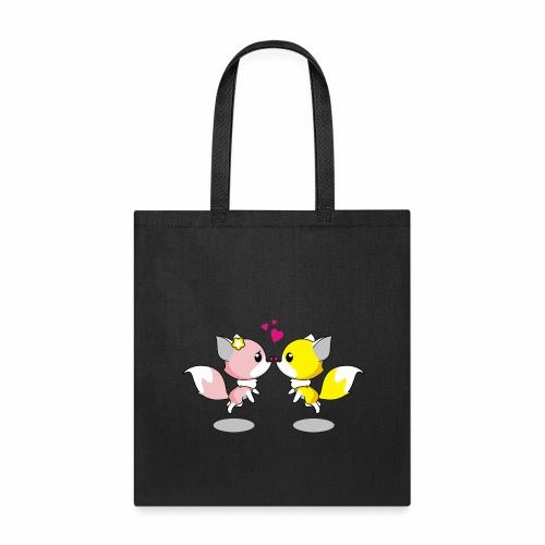 Two cute little foxes kissing and being in love - Tote Bag