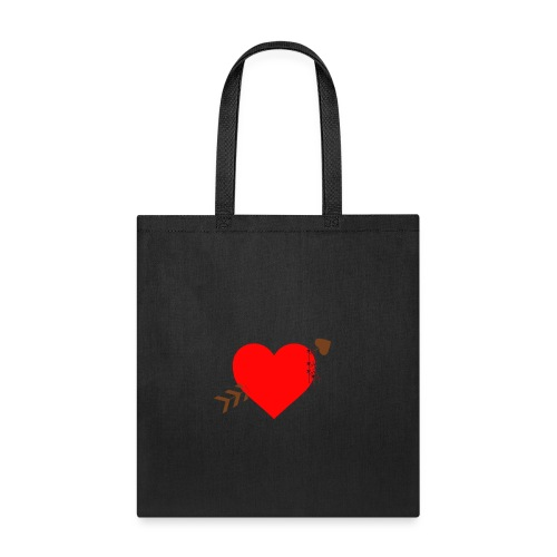 white color arrow shirt crossing a heart - Tote Bag