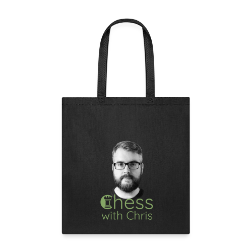 Chess with Chris Face and Logo - Tote Bag