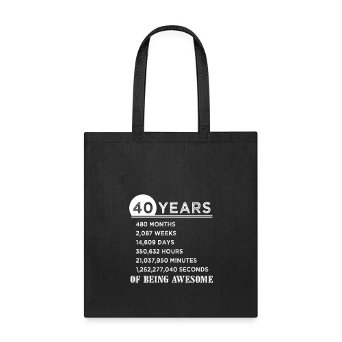 40th Birthday Gifts 40 Years Old of Being Awesome - Tote Bag