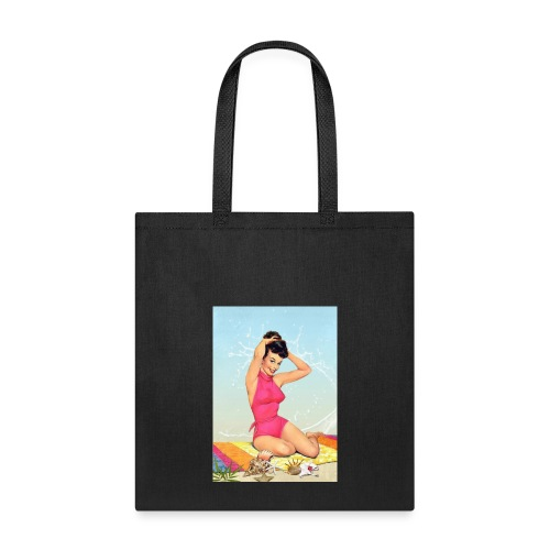 Girl in the sea, retro illustration - Tote Bag