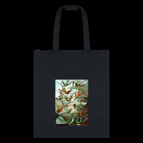 Exotic Bird Scene Vintage Print Colorful - Tote Bag