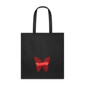 BUTTERFLY WORD RED - Tote Bag
