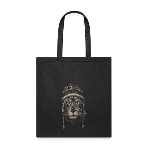 Lion white hat beanie king animal - Tote Bag