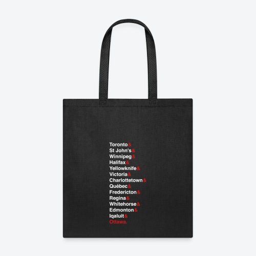 Canada's Capitals - Red & White - Tote Bag