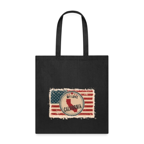 California State Silhouette on Vintage US Flag - Tote Bag