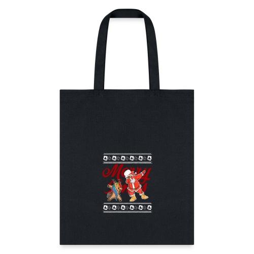 Dabbing Rudolf and Black Santa Christmas Shirt - Tote Bag