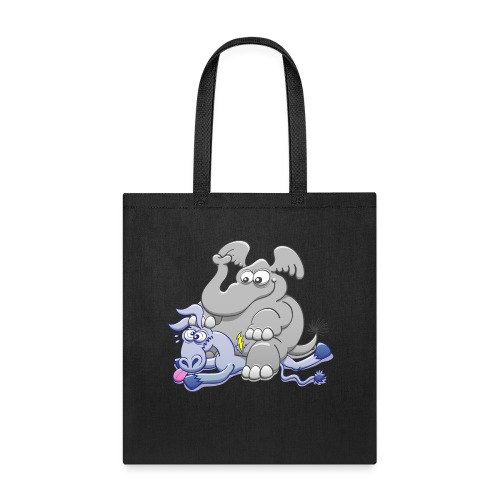 Elephant Sitting on Donkey and Squashing it - Tote Bag