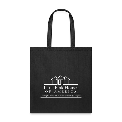little pink houses logo white png - Tote Bag