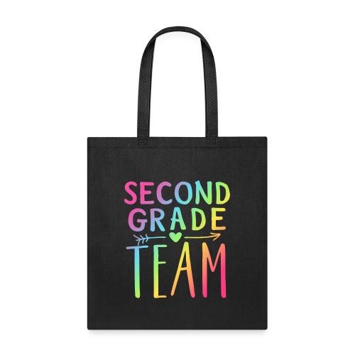 Second Grade Team Neon Rainbow Teacher T-Shirts - Tote Bag