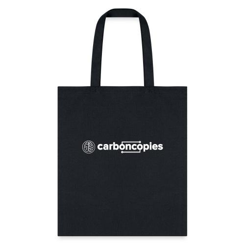 Carboncopies Text + Graphic Logo (white printing) - Tote Bag