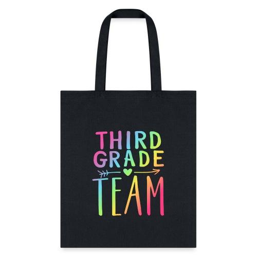 Third Grade Team Neon Rainbow Teacher T-Shirts - Tote Bag