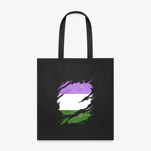 Genderqueer Pride Flag Ripped Reveal - Tote Bag
