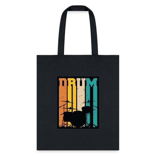 Retro Drum Set Silhouette Illustration - Tote Bag