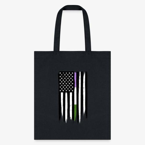Genderqueer Thin Line American Flag - Tote Bag