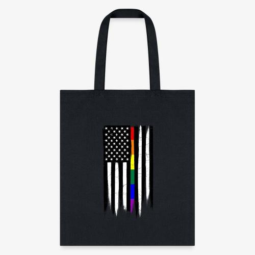LGBTQ Thin Line Amercian Flag - Tote Bag