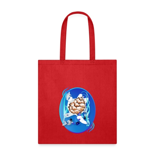 Big White Turtle and Friends Oval - Tote Bag