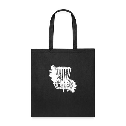 Disc Golf Basket White Print - Tote Bag