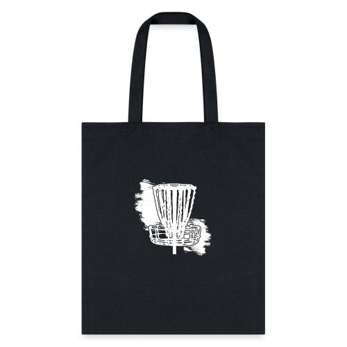 Disc Golf Basket White Print - Tote Bag