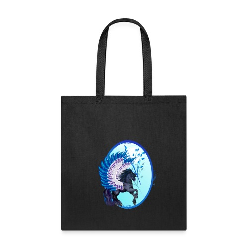 Blue Winged Pegasus Oval - Tote Bag