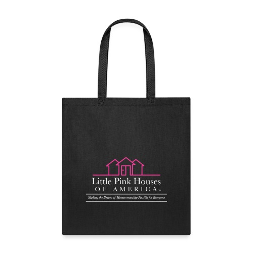 little pink houses logo white lower png - Tote Bag