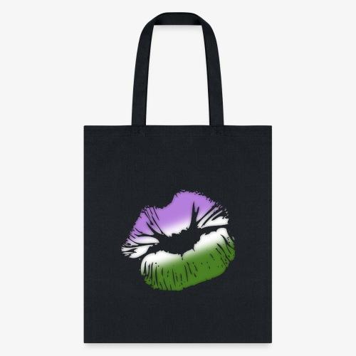 Genderqueer Pride Big Kissing Lips - Tote Bag