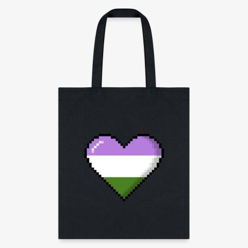 Genderqueer Pride 8Bit Pixel Heart - Tote Bag