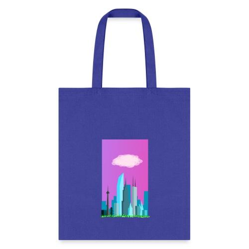 Cloudy evening city skyline - Tote Bag