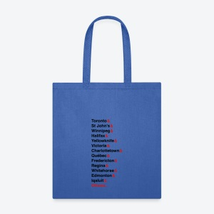 Canada's Capitals - Red & Black - Tote Bag