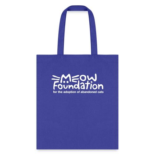MEOW Foundation White Logo Tagline - Tote Bag