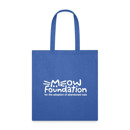 MEOW Foundation White Logo Tagline - Tote Bag