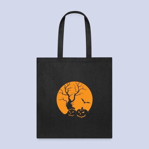 Jack O Lantern Silhouetted Aganist the Moon - Tote Bag