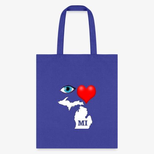 I Love Michigan, Eye Heart Michigan - Tote Bag
