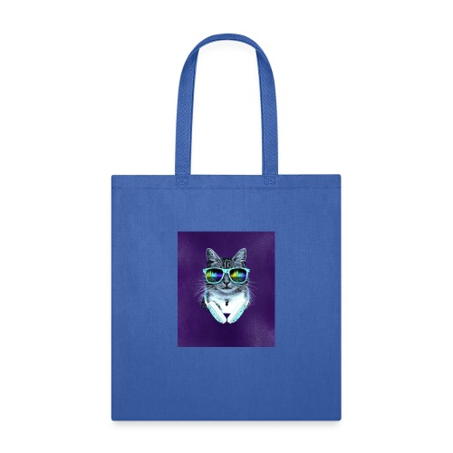 cool cat with glasses and headphones julio cesar - Tote Bag