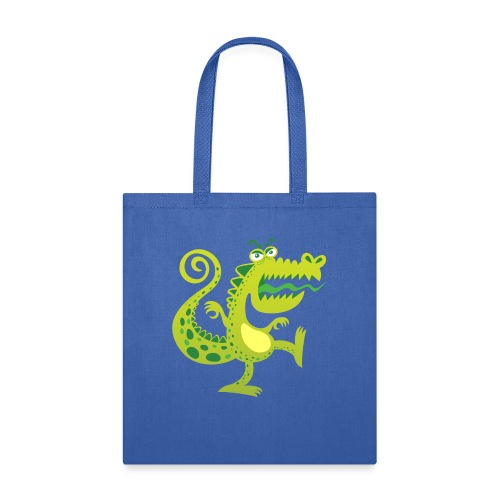 Scary reptile like monster growling in angry mood - Tote Bag
