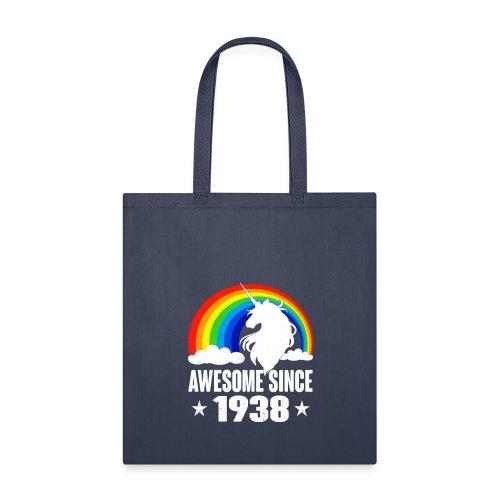 Rainbow Unicorn T-Shirt Awesome Since 1938 80th Bi - Tote Bag