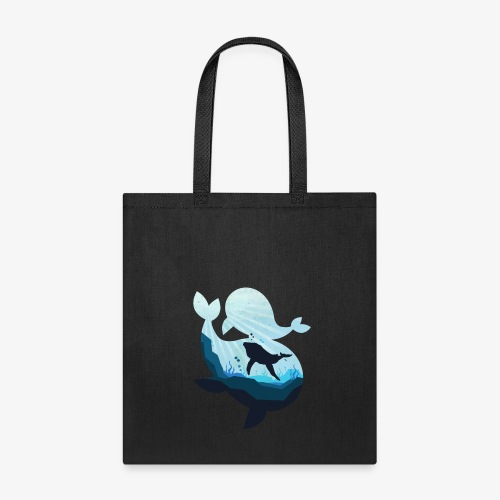 Mighty Whale and the Sea Unisex Cool T-Shirt - Tote Bag