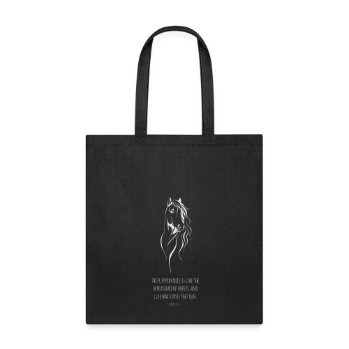Joel 2:4 - Horses (White printed) - Tote Bag