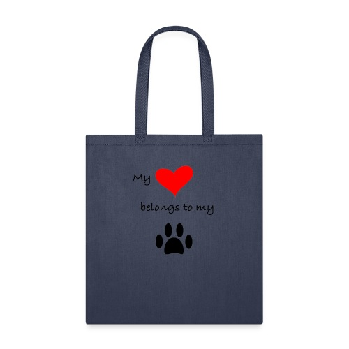 Dog Lovers shirt - My Heart Belongs to my Dog - Tote Bag
