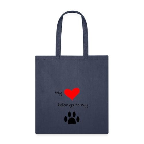 Dog Lovers shirt - My Heart Belongs to my Dog - Tote Bag