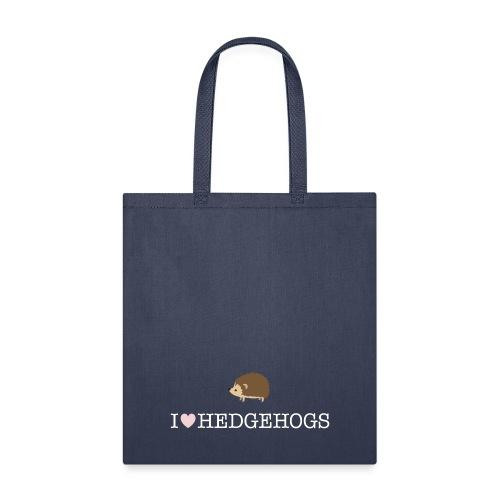 I Love Hedgehogs with Hedgehog Illustration - Tote Bag